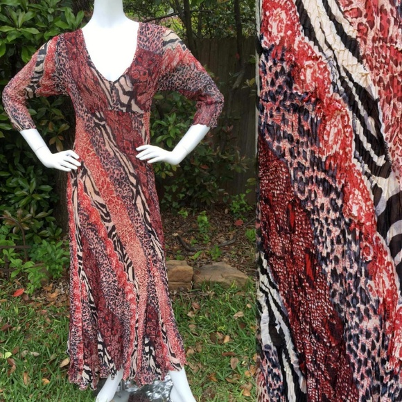 17d3ea55b Alberto Makali Dresses | Mixed Animal Print Maxi Dress M L | Poshmark